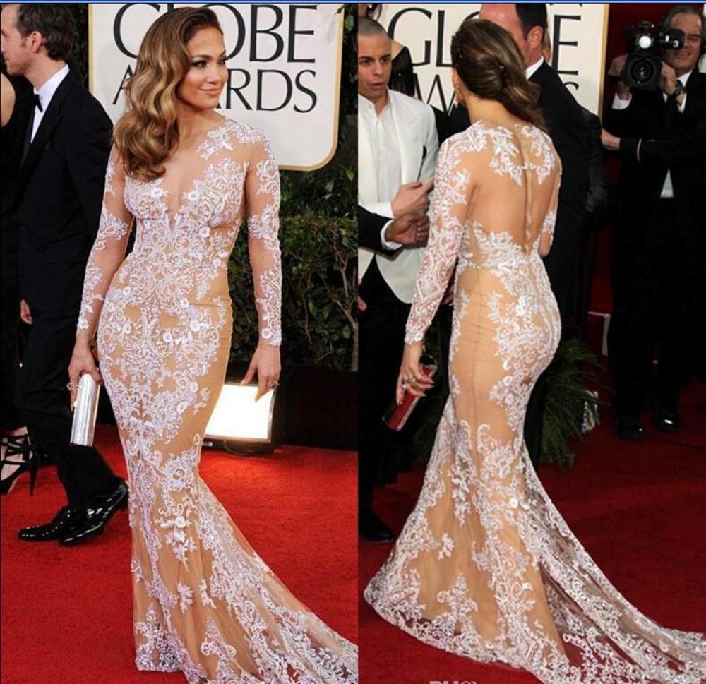 E-561-Customized-Jennifer-Plunging-V-Neckline-Long-Sleeve-Mermaid-Celebrity-Dress-Backless-Open-Sleeve-Red