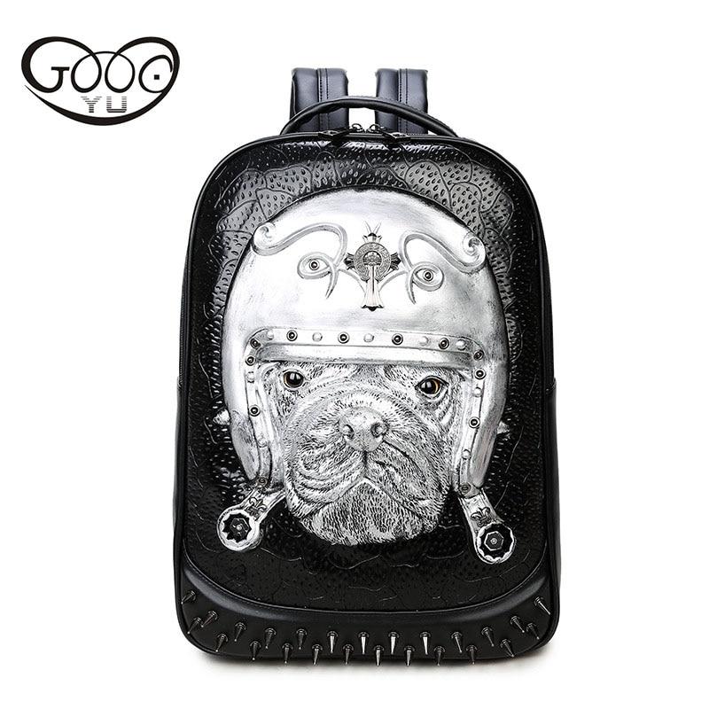 Women's Bags Goog.yu Fashion Shoulder Bags Rivets 3d Animal Pattern Creative Pet Leather Backpacks For Children Embossed Relief Women Bag