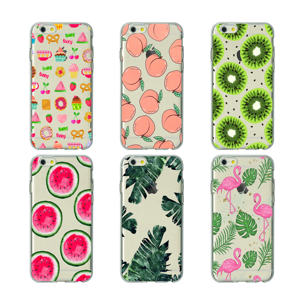 sports shoes 65177 4fd5f lovely skinny dip peach summer fruit soft Silicone clear cover flamingos  leaves case for iPhone X 6 7 8 plus 5 5s 6s se Housing