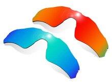 Glintbay 2 Pezzi Occhiali Da Sole Polarizzati Lenti di Ricambio per Oakley Radar EV Percorso Rosso Fuoco e Ghiaccio Blu