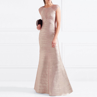 2018 New Chic Classic Champagne High Quality Long Cocktail Bandage Dress With Foil Golden Design Elegant Fashion Gown Wholesale