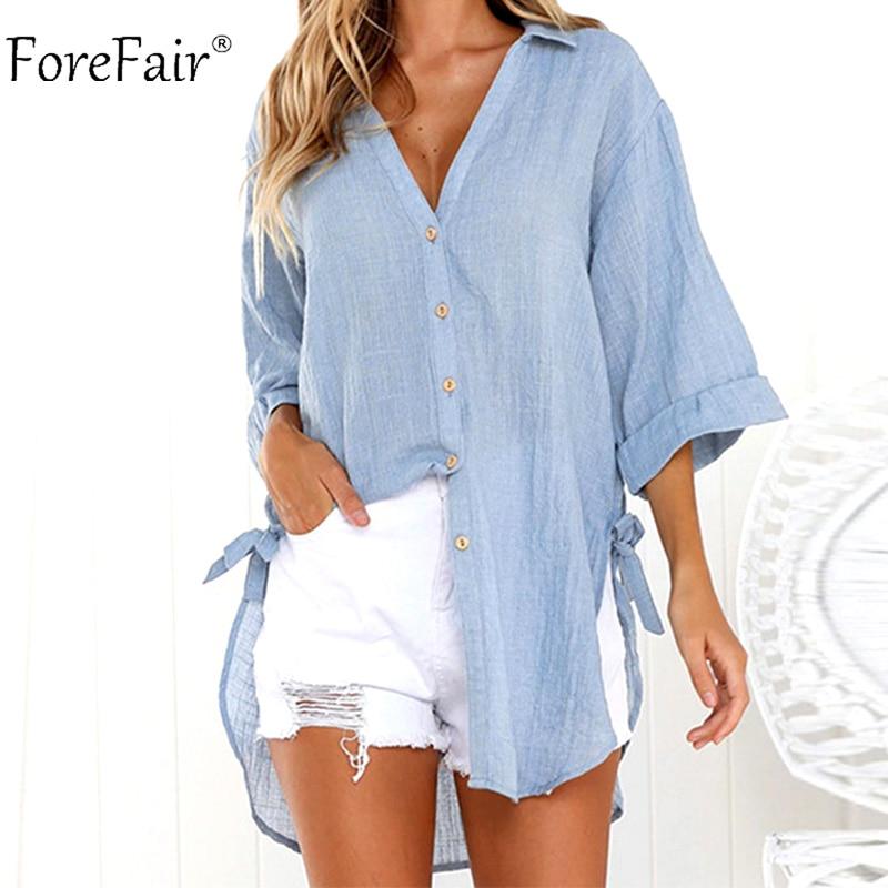 Forefair Plus Size Long White   Shirts   Women Autumn Winter Ladies Irregular Casual Loose Linen   Blouse     Shirt