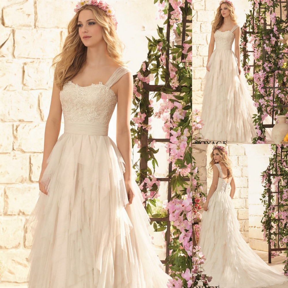 New Style 2015 Ruffled Lace Net Wedding Gown 2015 With