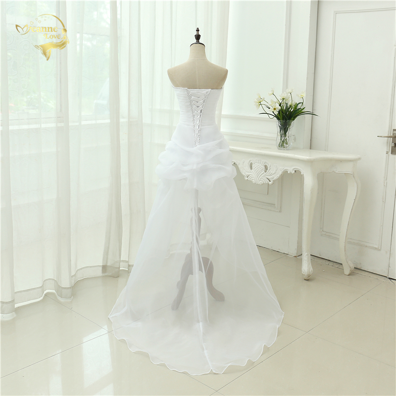 Vestido De Noiva 2017 New Shiny Organza Women Bride Sweetheart Beading Front Short Back Long White Ivory Wedding Dresses OC3399 3