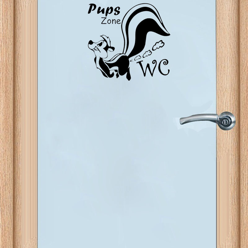 Funny Squirre WC Pups Zone Toilet Sticker Removable Home Decoration DTY Door Stickers A2210