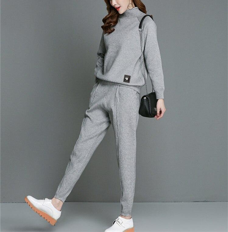 Delle donne di autunno della molla abiti maglione metà collo alto pullover matita pant 2 pz/set cashmere di miscela di nylon maglia one & sopra formato