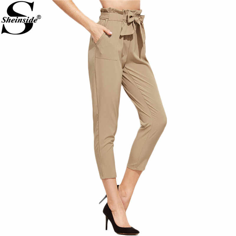 cd8490501b42c Sheinside Tie Waist Pants Women Khaki Elegant Ruffle Bow Peg Cropped Pants  Fashion New Mid Waist