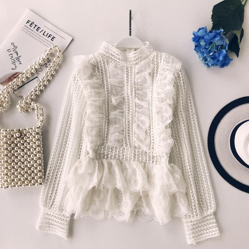 MUMUZI Elegant lace hollow out peplum blouse shirt women Ruffles long sleeve white blouse female Autumn winter tops office lady 2