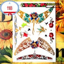 SHNAPIGN 24 Style Temporary Tattoo Body Art, Gold Swallow Designs, Flash Tattoo Sticker Keep 3-5 Days Waterproof 21x15cm