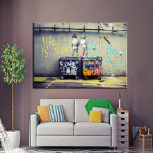 Modern Graffiti Art Painting Life is Short Chill the Duck out Two Nude Kids Print Poster Canvas Painting Wall picture Home Decor(China)