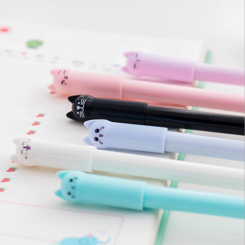 цены 6 pcs/lot Cute Cats Gel Pen Kawaii Pen Stationery School Supplies Kids Gift Wagging Cat Gel Ink Pen Office Pens Canetas