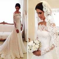 Vestido De Noiva Sexy White Lace Wedding Dresses Long Sleeved Bridal Gowns 2017 New Boat Neck