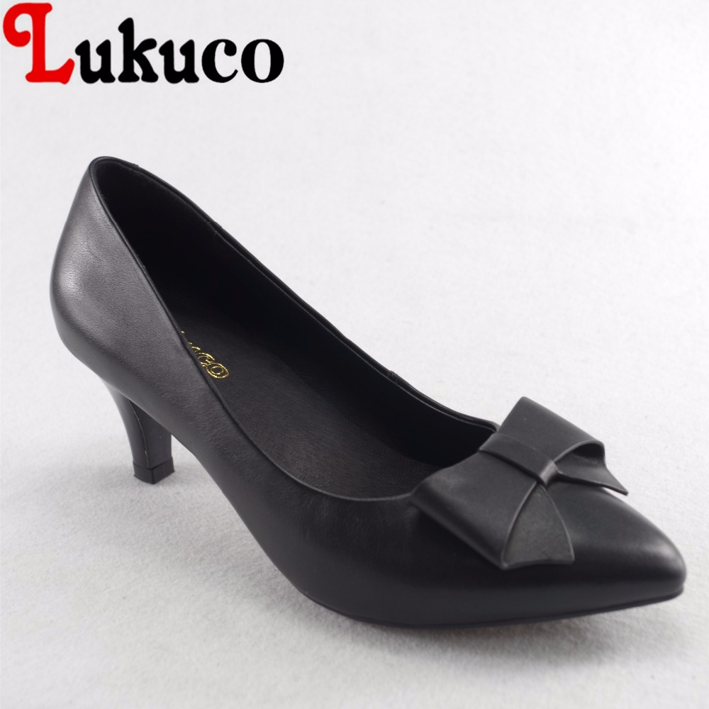 Lukuco sweet style butterfly-knot decoration women pointed toe pumps microfiber made low heel shoes with pigskin inside lukuco pure color women mid calf boots microfiber made buckle design low hoof heel zip shoes with short plush inside