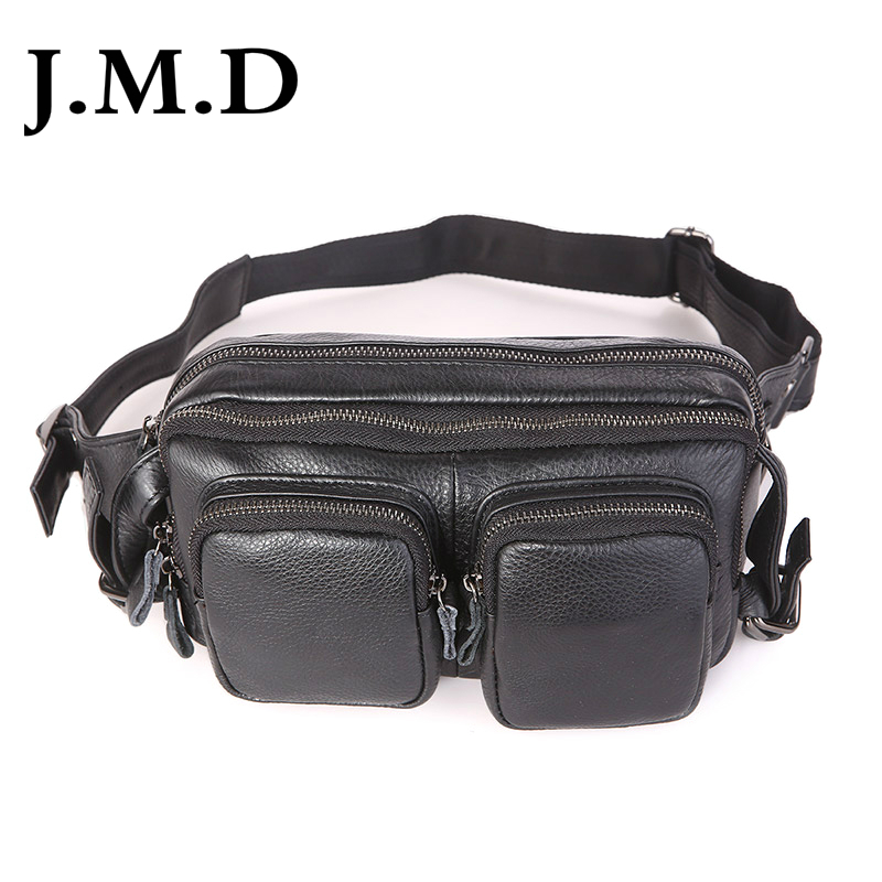 J.M.D Vintage Genuine Leather Mens Waist Bag Cool Cheap Fanny Pack For Men Waist Packs 7352A