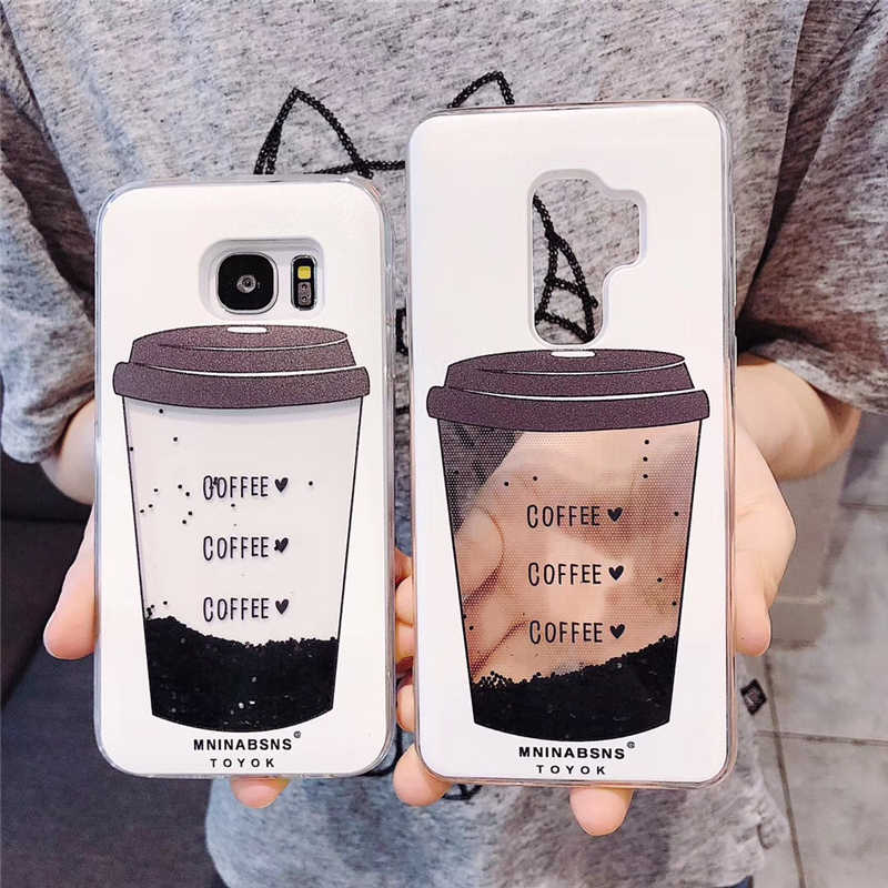 Coffee Cup Case for Samsung Galaxy S7 Edge S8 S9 Plus J3 J5 J7 A3 A5 A7 2016 2017 A6 A8 2018 Note 8 9 Liquid Soft Silicone Cover