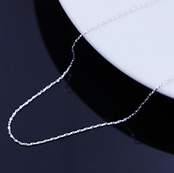 OMHXZJ moda al por mayor mujer 16 & 18 pulgadas 1.1 mm platino plata - Joyas - foto 4
