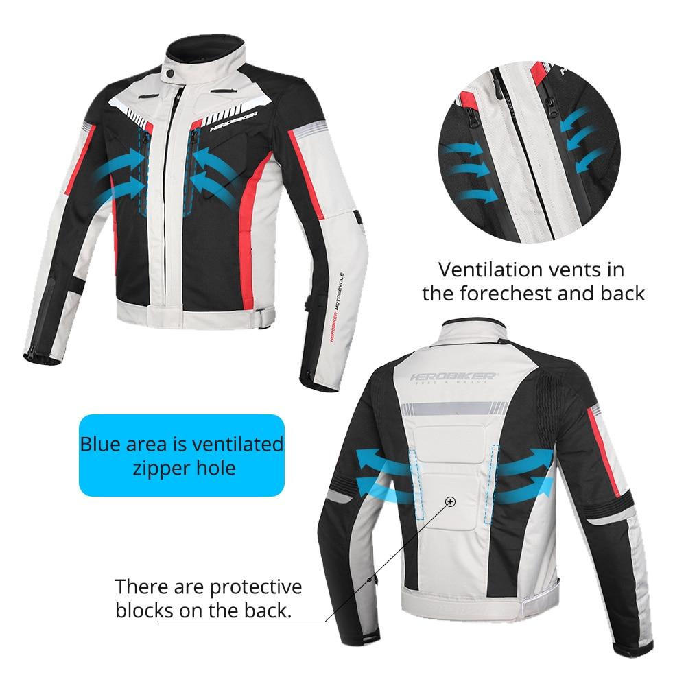 HEROBIKER printemps automne Moto veste hommes imperméable coupe vent Moto veste équitation course Moto vêtements Moto Protection - 2
