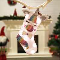 Dessin animé Animal en peluche suspendus bas de noël pour fête de vacances décorations de cheminée de noël chaussettes de noël Kerst Cadeau