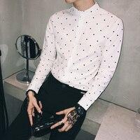 Spring New Dress Shirt Men's Slim Fashion Dot Print Business Casual Shirt Wild Long sleeved Shirt Social Men Shirt Man M 3XL