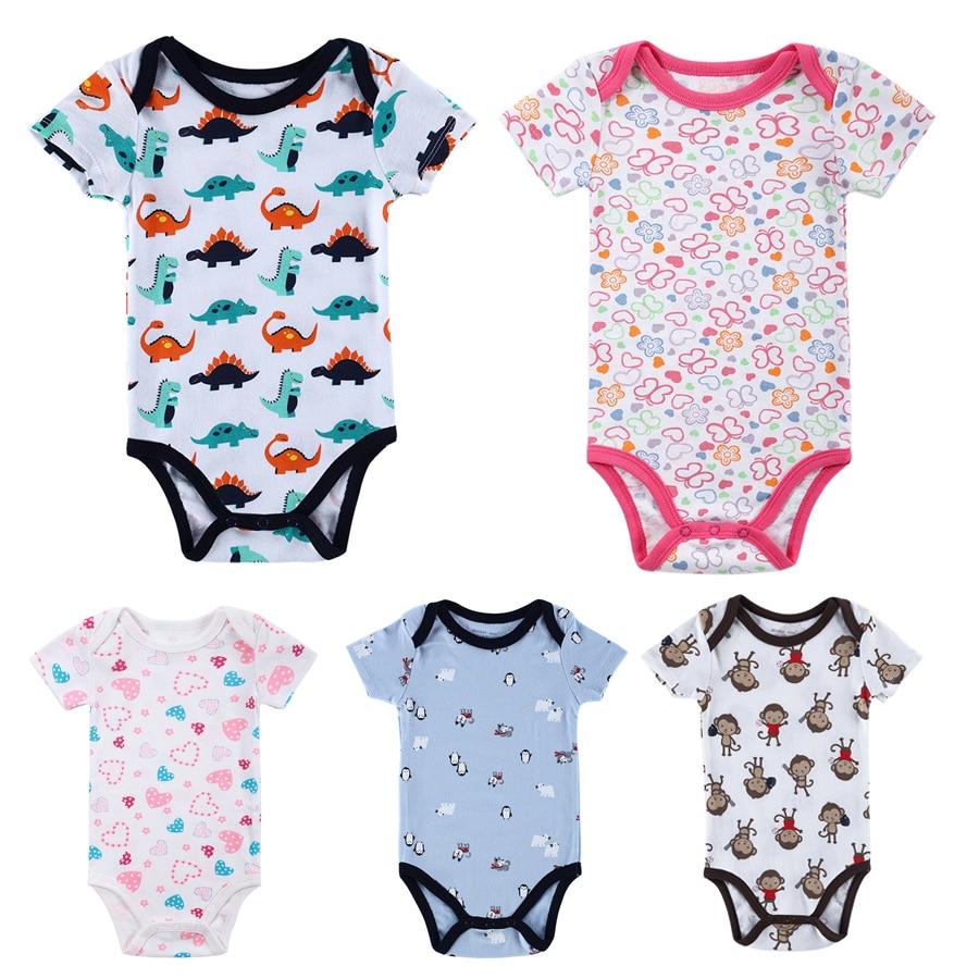 Summer Baby Bodysuit Onesie Cotton Short Sleeve Baby Boys Girls Pajamas Clothes Cartoon Print Baby Bodysuits DS39