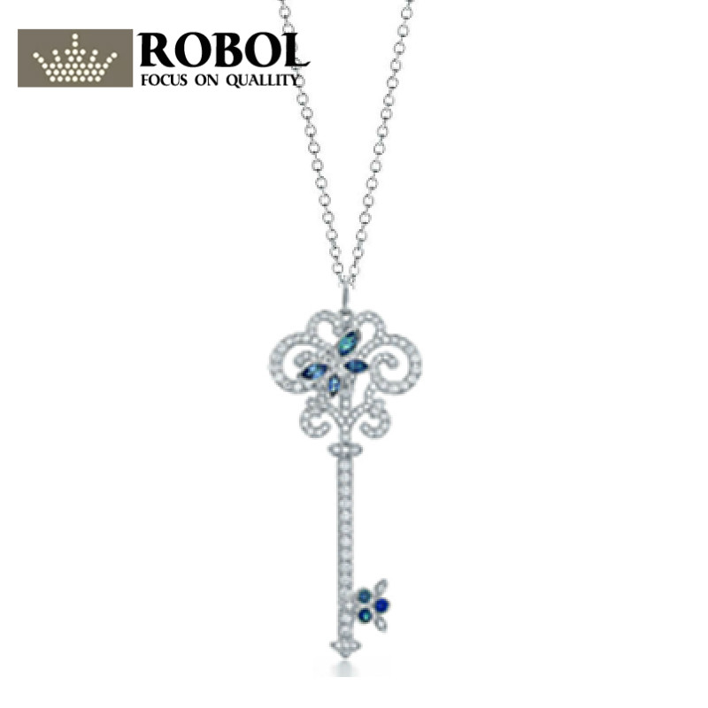 ROBOL Silver Necklaces Genuine Womens Pendant Sterling Silver Chain Pure Long Pendant Necklace Mail Free Package