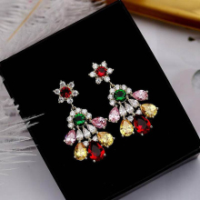 Ruifan Luxury Gold/Silver Colorful Cubic Zircon Flower Shape High Quality Drop Earrings Women Gift Girl Woman Earring YEA073