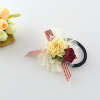 High grade cloth art two small roses and ribbons, ribbons, elastic rubber bands, accessories