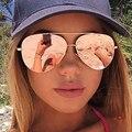 Mulheres Ouro Rosa Espelho Aviação Óculos De Sol Da Marca Designer New Vintage Retro Óculos de Sol Para Lady Feminino UV400 óculos de Condução Pesca
