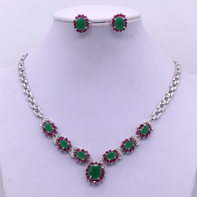 Trendy Jewelry White Gold Plated Red Zircon&Green Stone Flowers Necklace Earrings Jewelry Sets Gifts For Bridesmaids I07-1