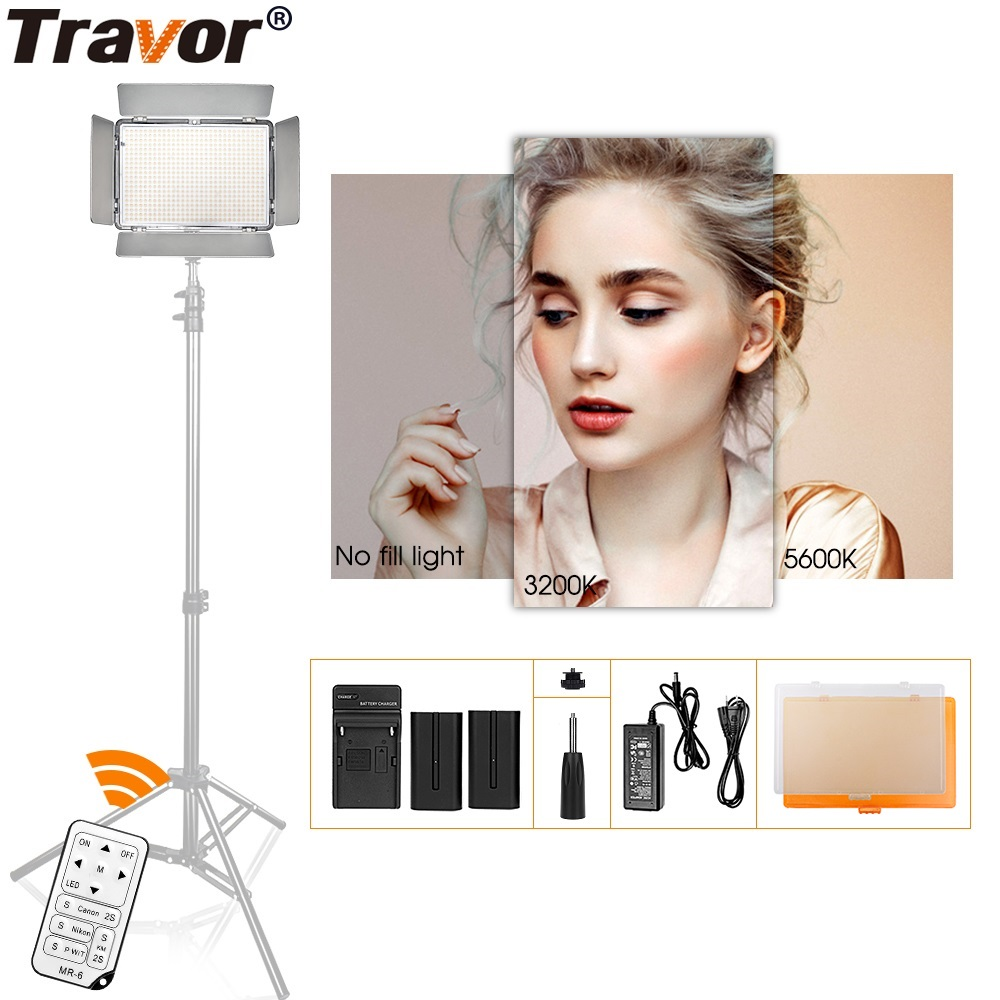 Travor Video Light 600PCS LED Daylight 5600K On Camera Light Studio Smooth Light Standing Lamps Photography Lighting