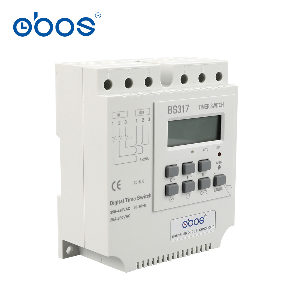 new good credit good quality three phase 380V 25A din weekly timer digital timer with 17 times on/off time set range 1min-168H death times three