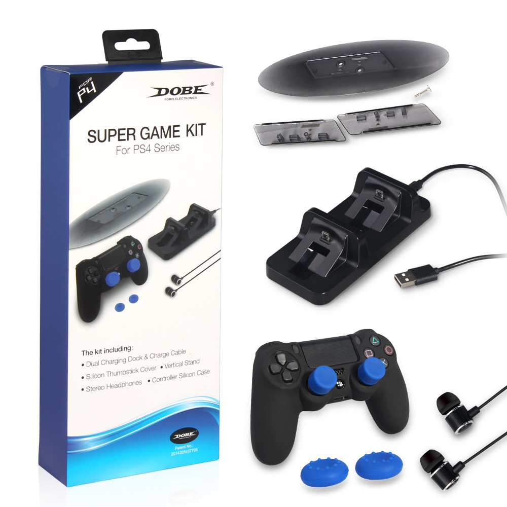 5-in-1 Super game kit for ps4 series, Dual Charging Dock, Vetical Stand ,Headphones,Controller Silicon Case and Thumbstick Cover