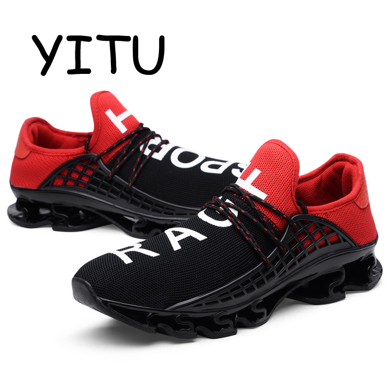 YITU Men Women Mesh Breathable Running Shoes Summer Outdoor Light Running Sneakers Lace-Up Trail Running Athlete Shoes Sports