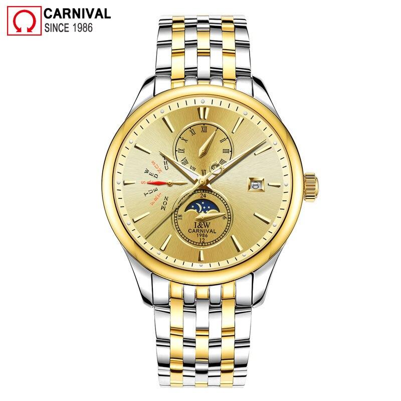 Carnaval 2018 de Ouro Homens Relógio de Aço Inoxidável Mecânico Automático Relógios Mãos Luminosas Mens Relógio de Fase Da Lua erkek kol saati