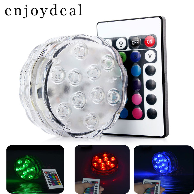 Waterproof RGB Night Light or Underwater Wireless Remote Control 10LED Multi Color Spotlight for Aquarium Bedroom Bar Decoration