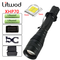 Litwod Z20+ CREE XHP70 P75 LED Flashlight Torch Zoomable 5 model Waterproof powerful Tactical Flashlight 2*Gree Batteries