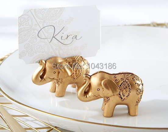 wedding party decoration party favors Lucky Golden Elephant Place name Card Holder table number card holder