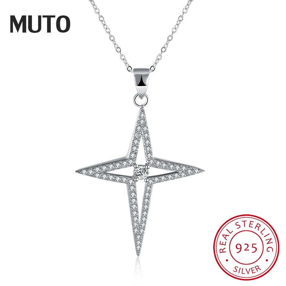 MUTO Estrella Brillante de Plata 925 Collar Collar de Plata Esterlina Fina Joyería de Moda Collares y Colgantes SVXL1934