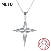 MUTO Silver 925 Necklace Shiny Star Necklace Sterling Silver Fine Jewelry Fashion Necklaces & Pendants SVXL1934