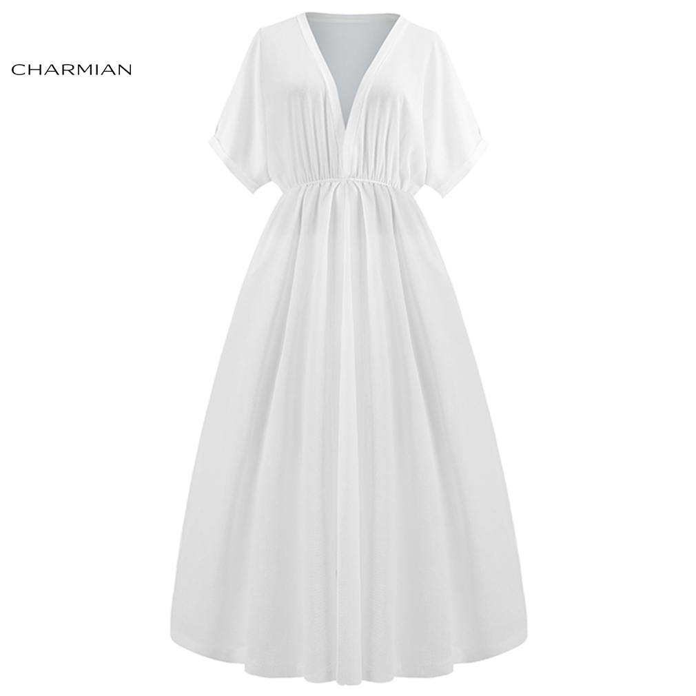Charmian Women's Elegant White Chiffon Low Cut High Waist Wedding Evening Party Short Sleeves Midi Dress