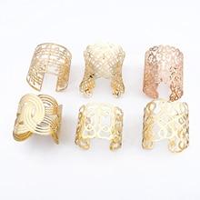 Dayoff, brazaletes étnicos dorados y plateados, grandes y anchos, pulseras abiertas para mujer, brazalete hueco Vintage, accesorios de joyería B110