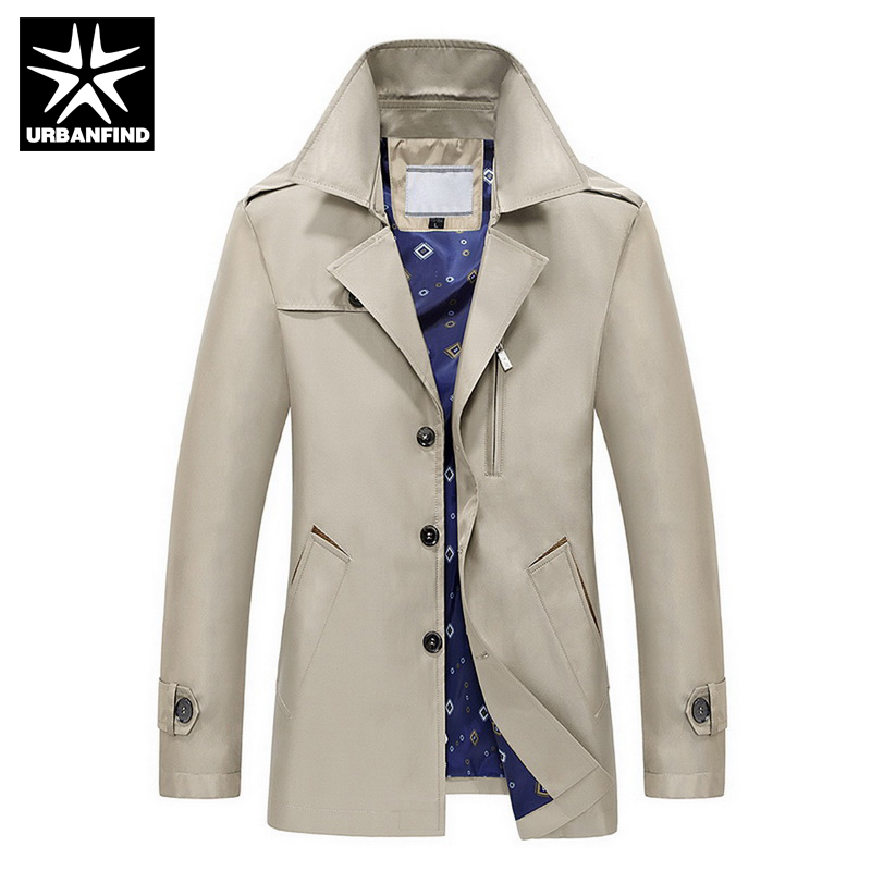 URBANFIND Trench Coat 2017 New Arrival Business & European Style Slim Fit High Quality Wind Coat Autumn Popular Men Trench