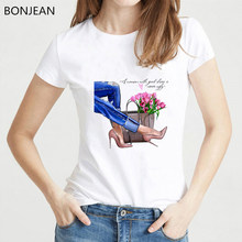 Vogue illustration of female legs Art tshirt women Summer harajuku T Shirt femme Casual Tops Abstract beauty t-shirt streetwear(China)