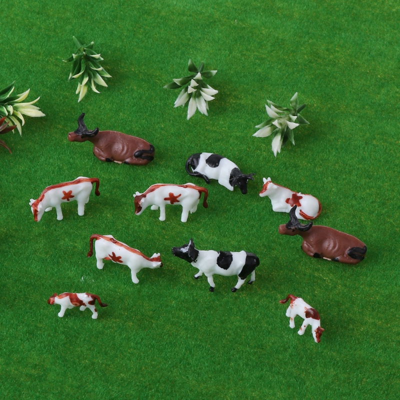 New 10pcs 1:87 Diy HO Scale Colorful Cow Model Train Layout Model Building Toys Wholesale Kids Educational Toys-M20
