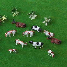 Modelo de vaca colorida a escala HO Diy, juguetes de construcción en miniatura, Toys-M20 educativos para niños, 10 Uds.