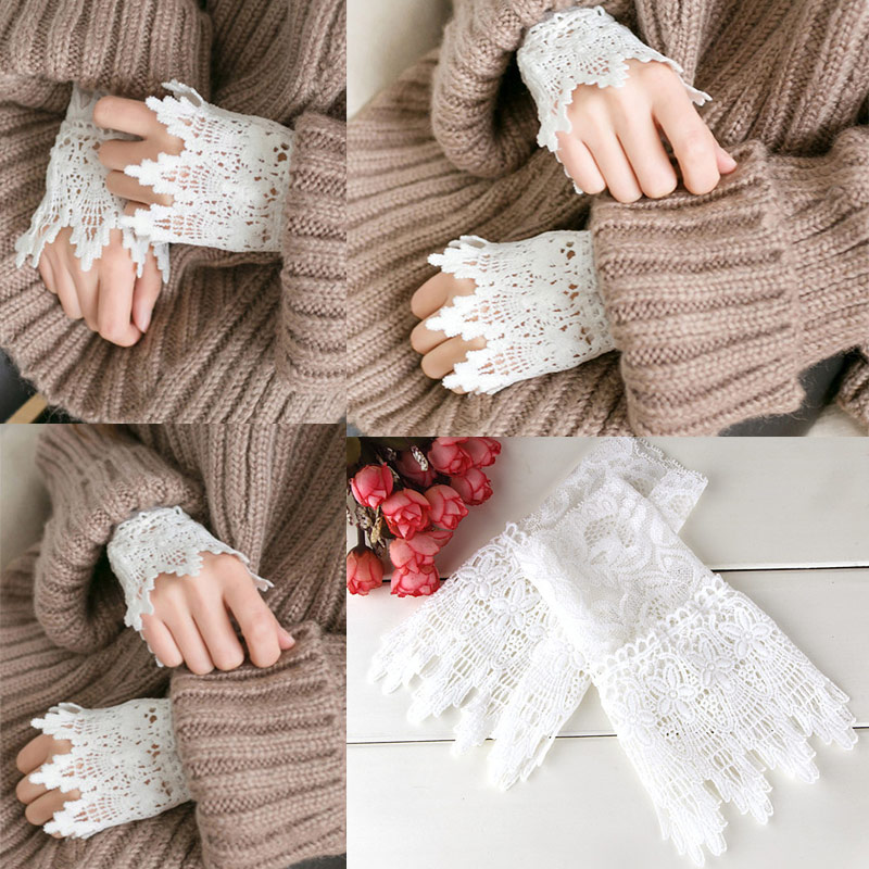 1 Pair Lace Wrist Sleeves Hollow Fake Cuff Elegant Gloves Accessories For Women Lady KNG88