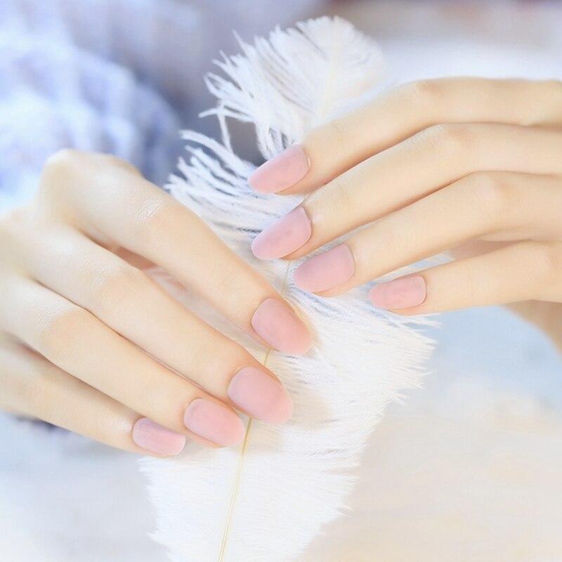 False Nails Art Tips Natural Pink Color Full Wrap Fake Nail ...
