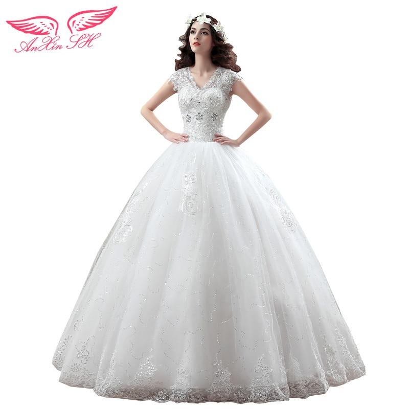 AnXin SH кружева свадебное платье принцессы кружева двойной плечо свадебное платье щель декольте свадебное платье брак SW