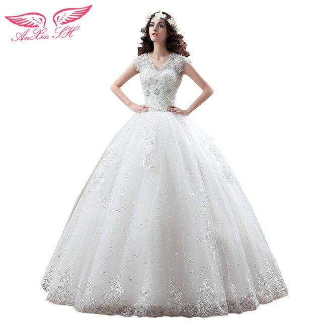 AnXin SH lace wedding dress princess lace double shoulder wedding ...