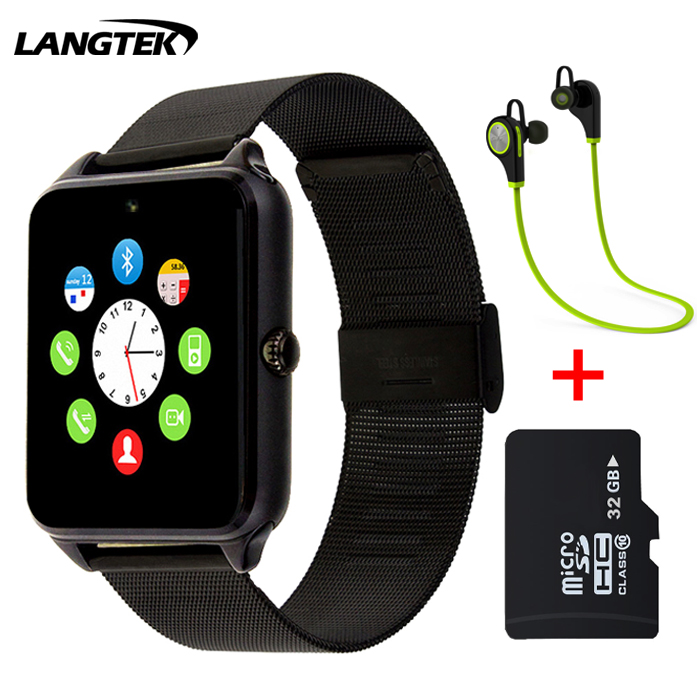 new product 926f6 801b7 US $13.05 30% OFF|2017 Bluetooth Z60 Smart Watch Stainless Steel Smartwatch  Support SIM TF Card Camera Call SMS Remind Wristwatch For IOS Android-in ...